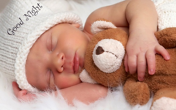 Cute Babies Good Night Images with Teddy Bear