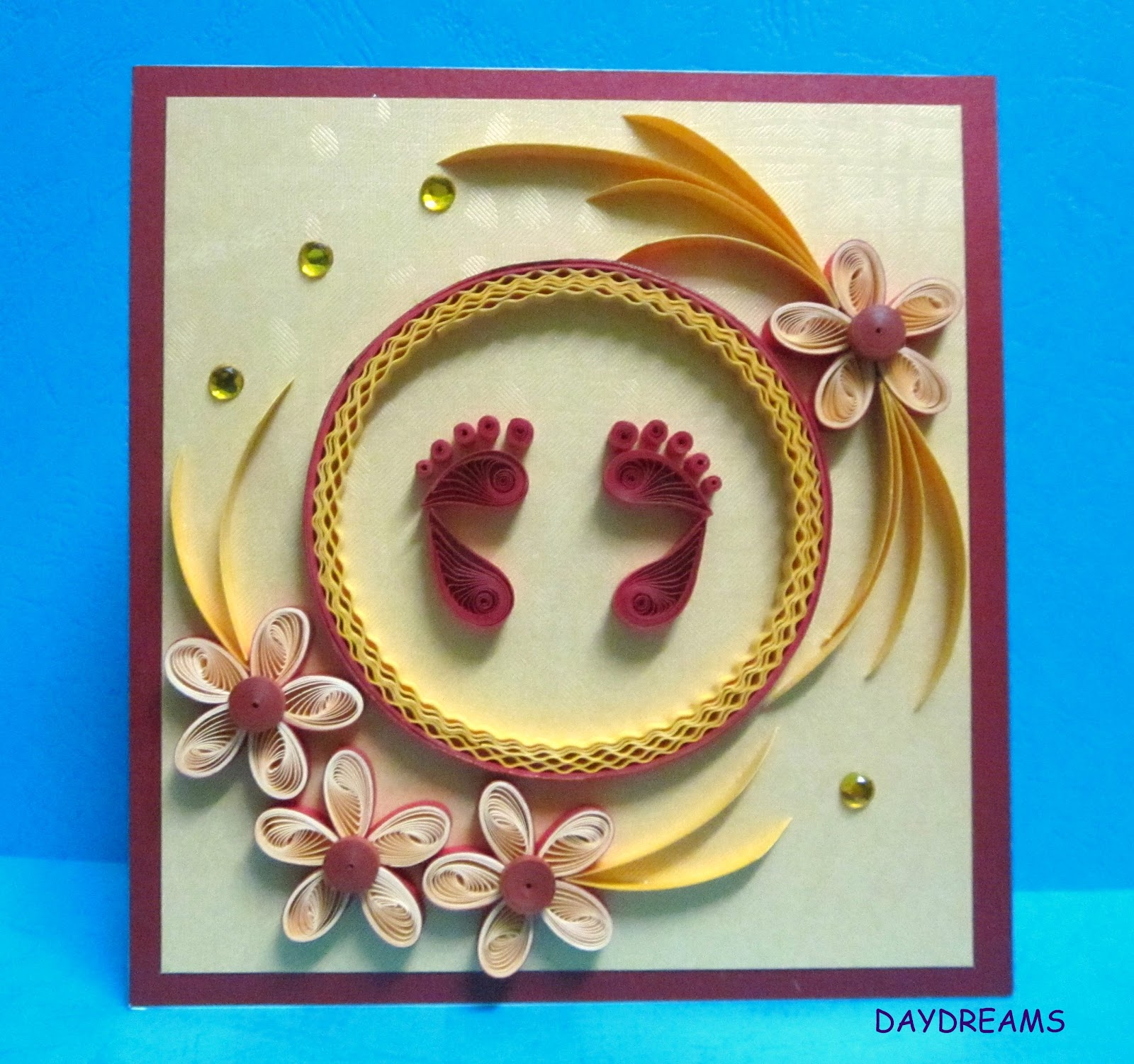 daydreams quilled baby shower card