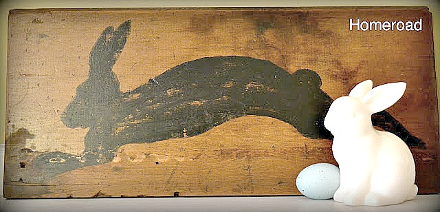 Rustic DIY Shelf Bunny Silhouette sign with bunny and egg