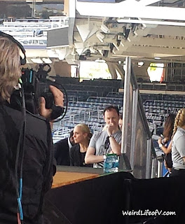 Amanda Abbington and Mark Gatiss waiting to come on stage for the Sherlock panel