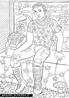 A coloring page about a young man looking forward to a journey / Värityskuva nuorukaisesta, joka odottaa matkaan pääsemistä