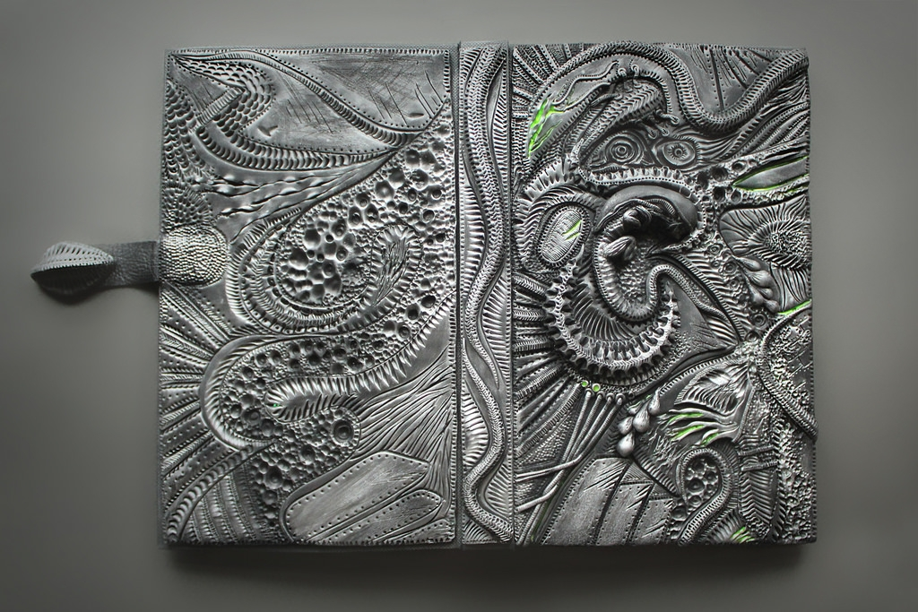 07-Alien-Cover-Aniko-Kolesnikova-Polymer-Clay-Book-Diary-and-Electronics-Cover-www-designstack-co