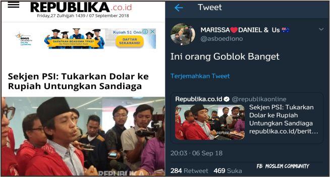 Antoni PSI Sebut Tukarkan Dollar Untungkan Sandiaga, Warganet: Ini Orang Giblok Banget!