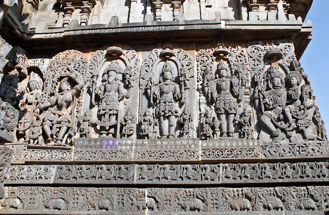 From right Shiva-Parvati, Vishnu, Maheshwara, Brahma, and followed by Madanika in dancing pose