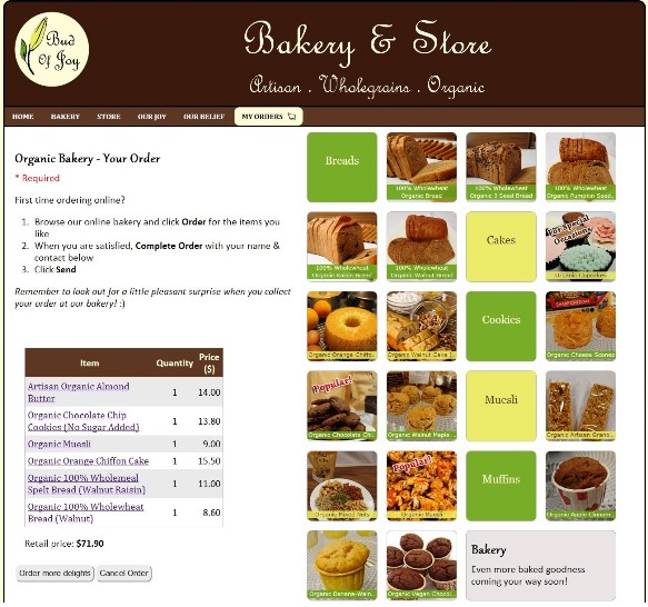 budofjoy organic bakery shopping cart