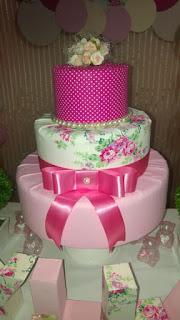 Bolo de tecido rosa pink
