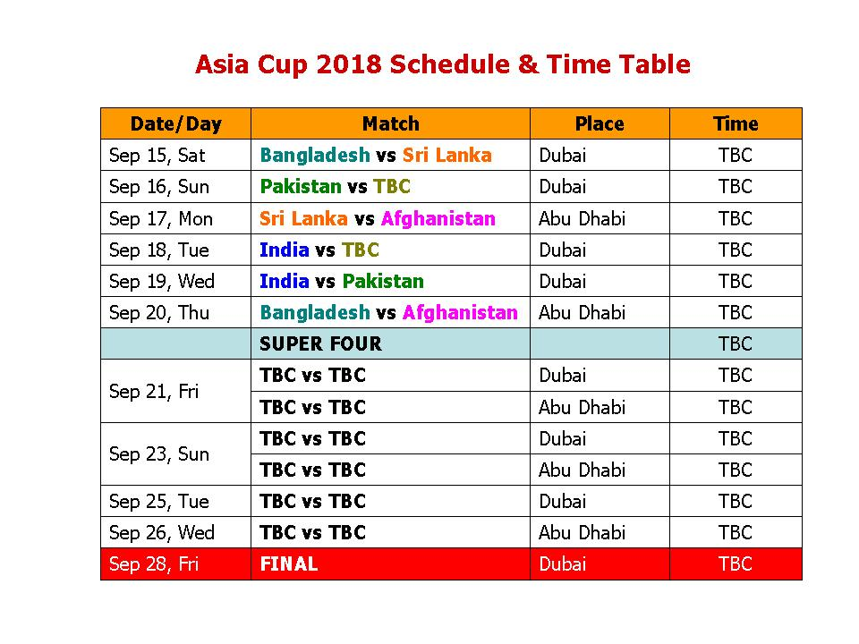 Learn New Things Asia Cup 2018 Schedule  Time Table