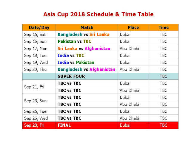 Asia Cup 2018 Schedule & Time Table, Asia Cup 2018 Schedule, Asia Cup 2018 final teams, Asia Cup 2018 all team squad, India vs Pakistan in asia cup 2018, full schedule Asia Cup 2018, icc cricket Asia Cup 2018 schedule, Asia Cup 2018 fixture, local time, IST time, GMT, match time, how to watch, Bangladesh, Sri Lanka, Afghanistan, Asia Cup 2018 September, final match, Asia Cup 2018 all match time table, cricket schedule, ODI asia cup 2018, Cricket Asia cup