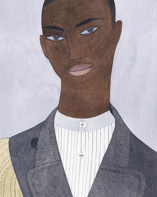 Kelly Beeman arte | dibujo en acuarela de hombre elegante