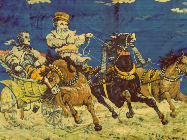 Russian carpet with trio of horses