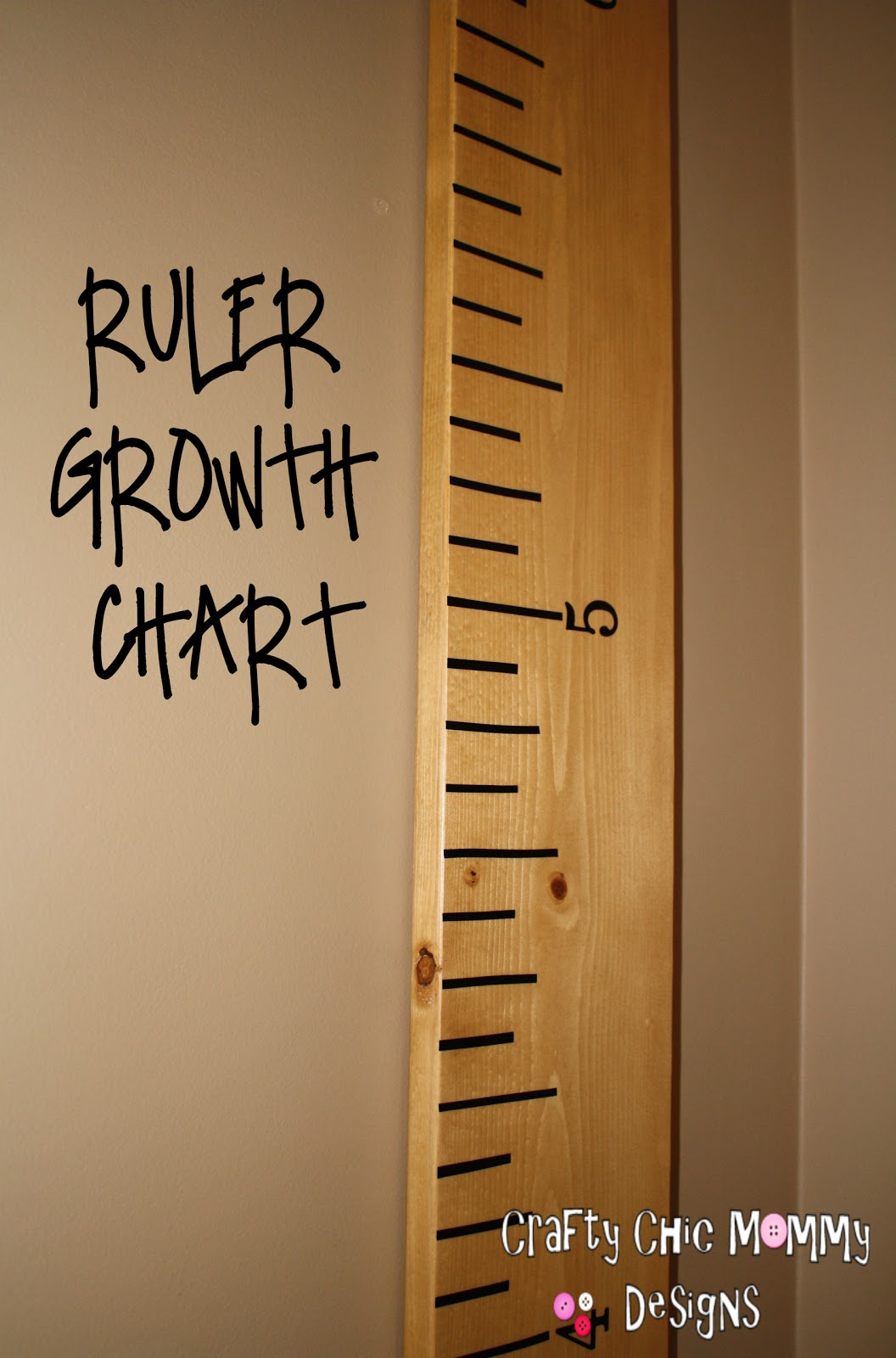 Crafty Chic Mommy P B K O Giant Ruler Growth Chart