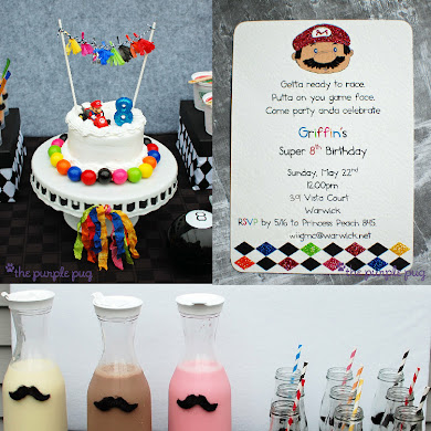 Mario Kart Mustache Mania Birthday Party