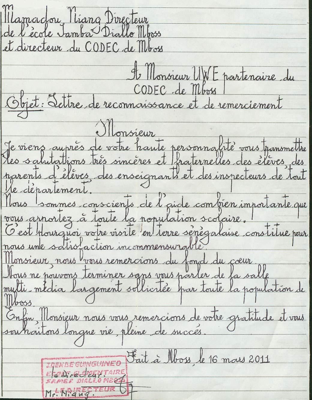 Förderverein Mboss Kaolack Senegal Ev Dankesbrief Der