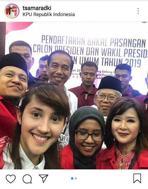 Netizen Protes Keras Tsamara PSI soal Foto Bareng Jokowi-Ma'ruf Amin