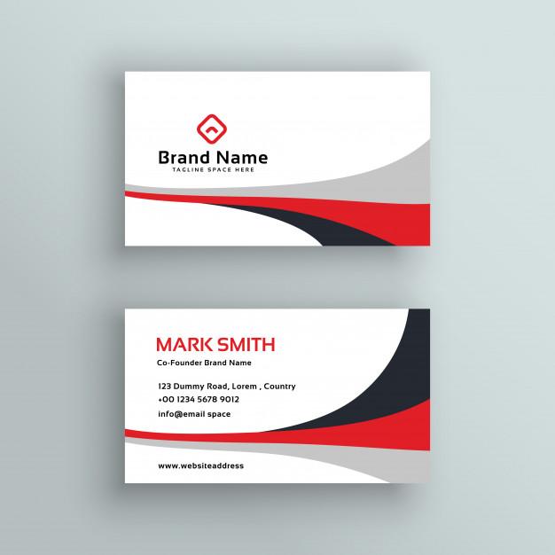Modern clean business card vector design Free Vector
