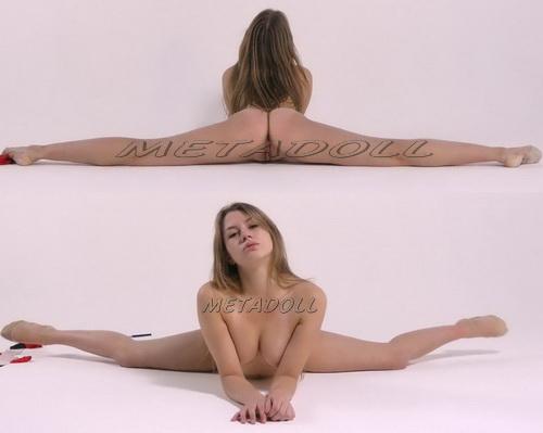 Flexible girl shows naked gymnastics