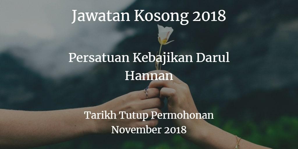Jawatan Kosong Persatuan Kebajikan Darul Hannan November 2018