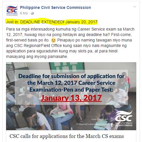 DEADLINE of filing for March 2017 civil service exam extended