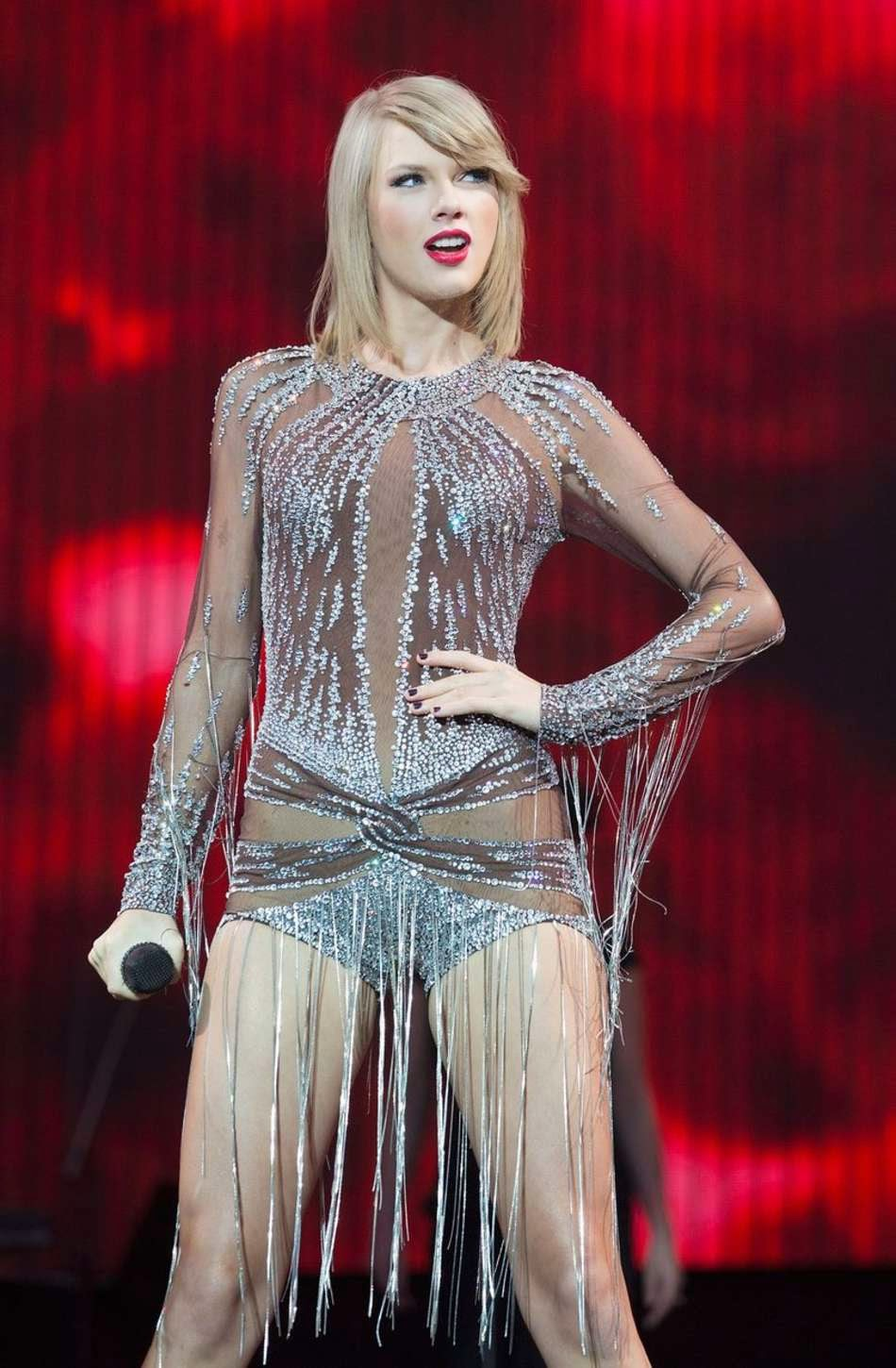 Taylor Swift performs in a sheer bodysuit at BBC's Radio 1 Big Weekend in London