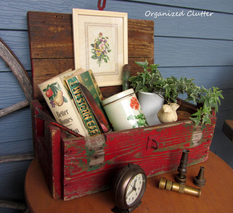 Covered Patio Vintage Summer Rustic Crate Vignette www.organizedclutterqueen.blogspot.com