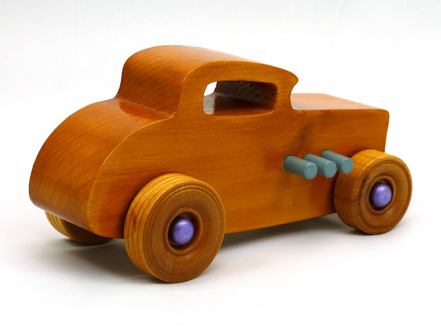 Right Side Rear - Wooden Toy Car - Hot Rod Freaky Ford - 32 Deuce Coupe - Pine - Amber Shellac - Metallic Purple Hubs - Gray Exhaust