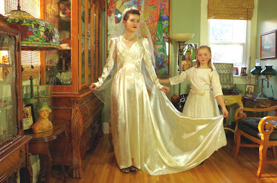 Vintage 1940s Cream Satin Wedding Gown with Beading
