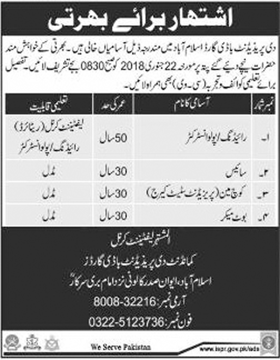 Jobs In The President Bodyguards Islamabad Jan 2018