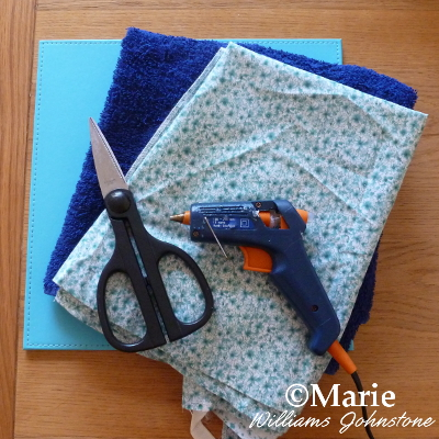 supplies and materials fabric glue gun scissors