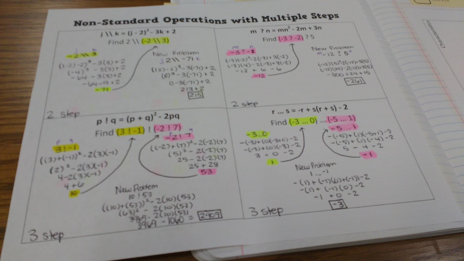 operations notes This download includes two pages of notes introducing order of operations using gems and mr multiplication/division & ms addition/subtraction and one page of.