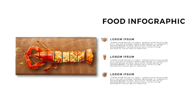 Fried Lobster Food Infographics for Free Powerpoint Template with Sliced Image
