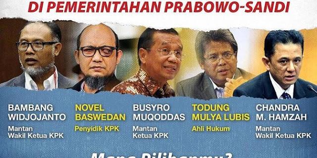 Jika Prabowo Menang, Novel Baswedan dan Eks Pimpinan KPK Bisa jadi Jaksa Agung