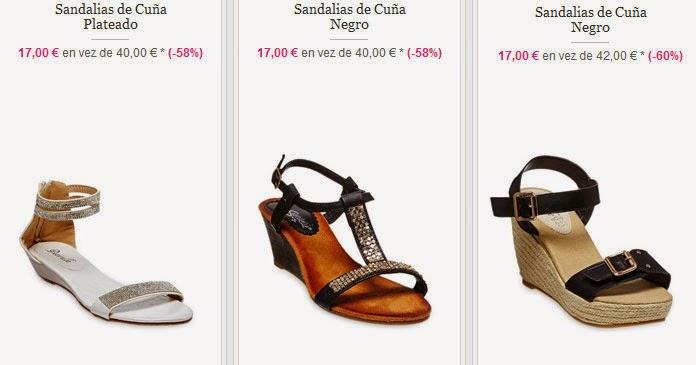 Ejemplos de sandalias de cuña a 17 euros.