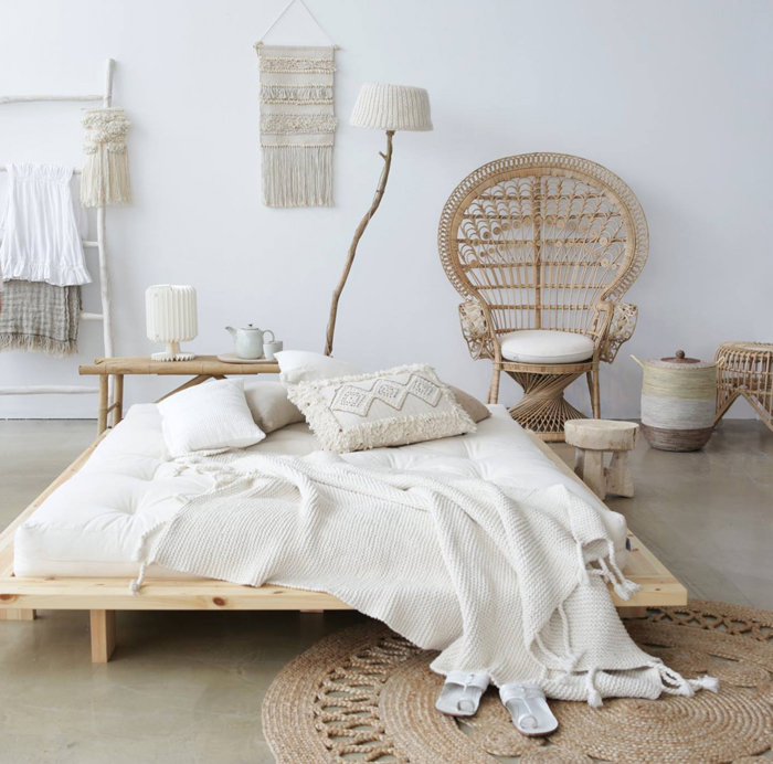 natural materials in bedroom