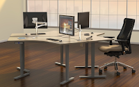 Mayline ML Group Workstation with Monitor Arms
