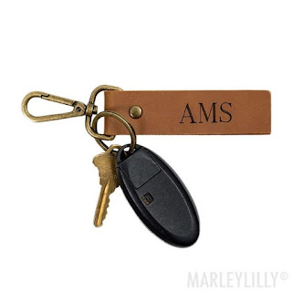 Personalized Antiqued Leather Key Fob