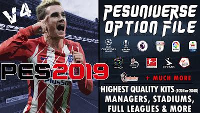 PES 2019 PS4 PES Universe Option File v4 Season 2018/2019