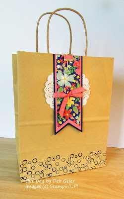 Gift Bag made with Stampin'UP!'s Affectionately Yours Designer Paper, a Doily, and Triple Banner Punch