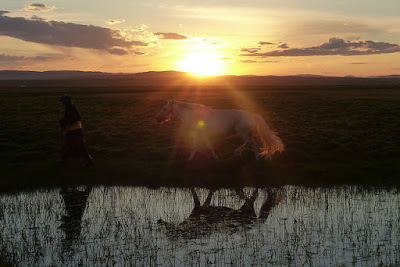 Mongolie Khentii steppe coucher de soleil deel cheval
