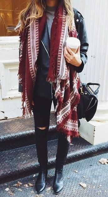 cute street style / scarf + moto jacket + sweatshirt + black rips + boots + bag