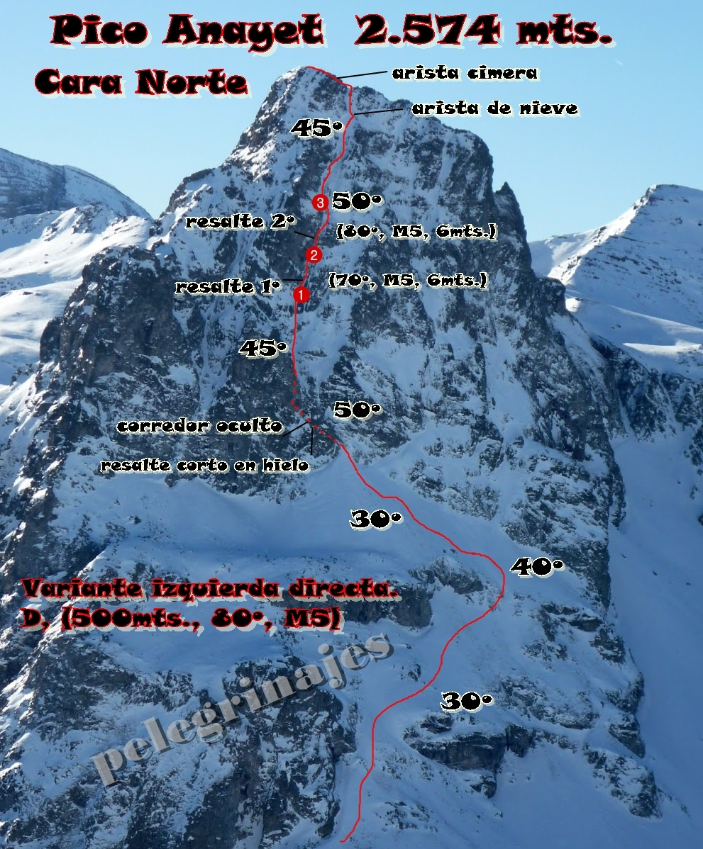 pelegrinajes: Norte del Anayet AD+ (80º, M5 expo, IVº, 400mts.)