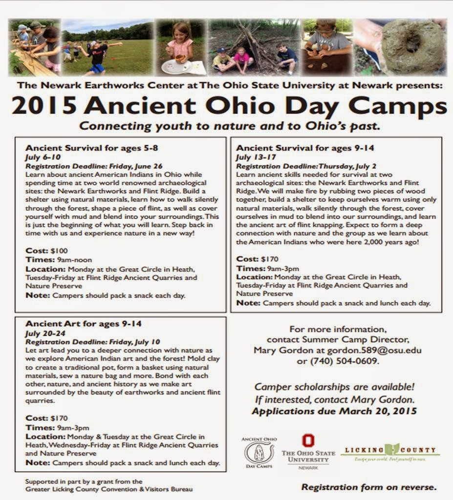 2015 Ancient Ohio Day Camps Registration Form PDF.