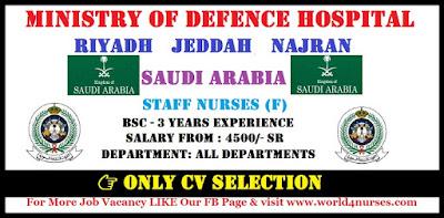 URGENTLY REQUIREMENT FOR MINISTRY OF DEFENCE HOSPITAL, RIYADH ,JEDDAH , NAJRAN, SAUDI ARABIA.