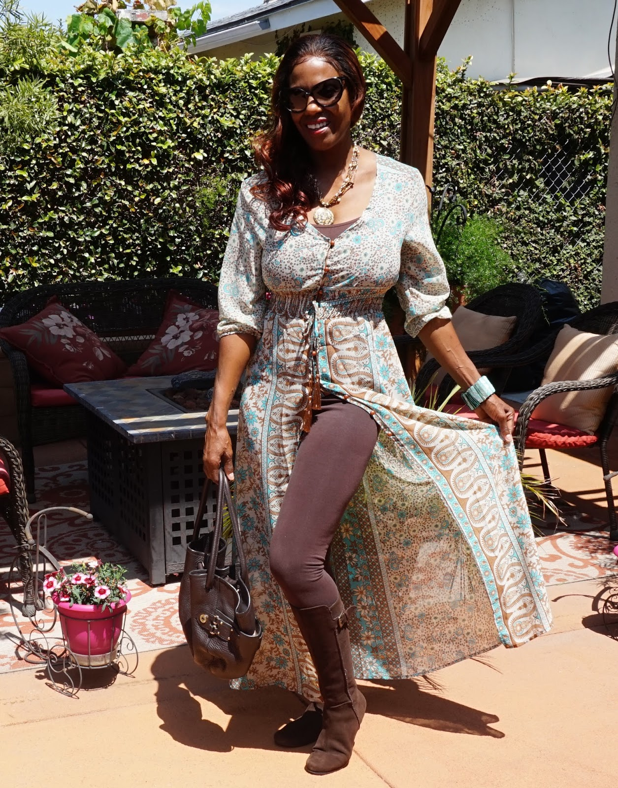 Fun Fierce Fabulous Beauty Over 50 Fashion Boho Sheer Floral Maxi Button Down Dress