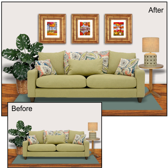 Art in your family room before & after Artist Cathy Horvath Buchanan