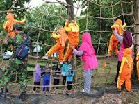 Latih Keberanian Anak Usia Dini,  Prajurit Yonif Mekanis 412 Kostrad Selenggarakan Outbound