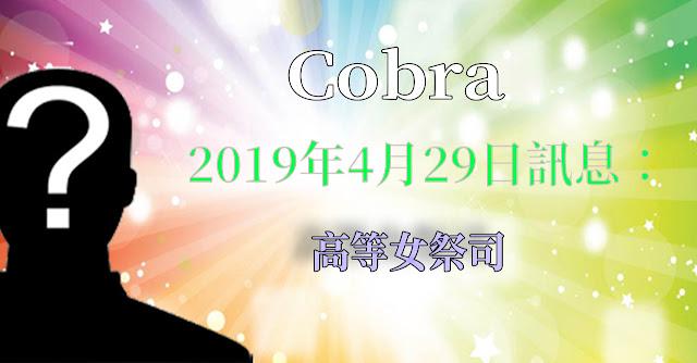 [揭密者][柯博拉Cobra] 2019年4月28日訊息:高等女祭司