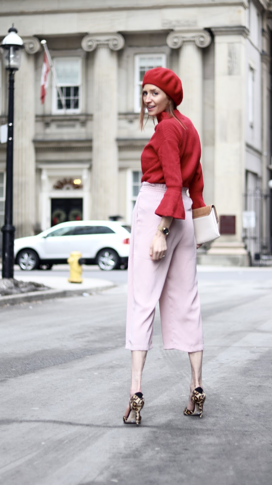 Pink and red color block- Valentines Day Outfit LOFT ZARA Leopard