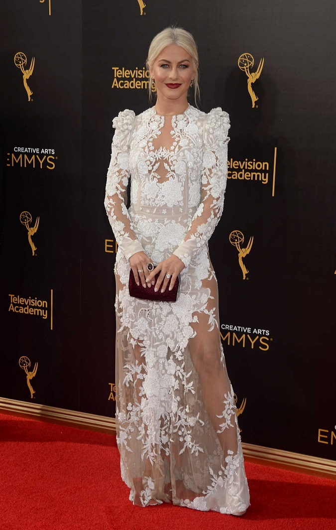 Julianne Hough wears a Zuhair Murad dress to the 2016 Creative Arts Emmy Awards in LA