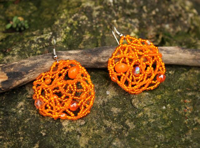 купить украшения из бисера необычные серьги ручной работы оранжевого цвета