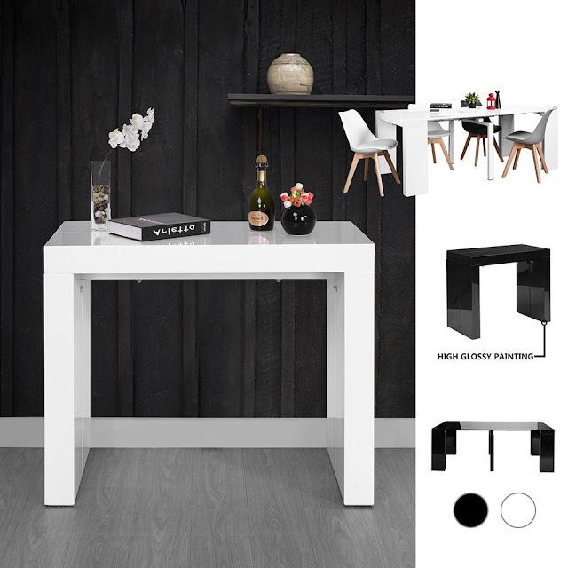 Table de salle à manger design Console Extensible pas cher moderne 8 Personnes Convertible Blanche Laquée Tendance Design,75 x 90 x (44.5-199) cm
